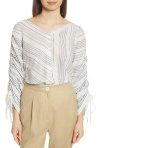 Robert Rodriguez Ruched Sleeve Striped Shirt $265